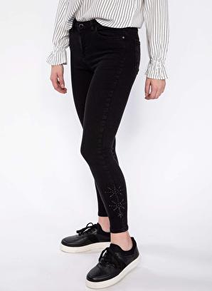 DeFacto Anna Yüksek Bel Paçası Taş Detaylı Denim Pantolon